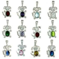 Sterling Silver Birthstone Dog Pendant Charm w/ Colored Cubic Zirconia Stone