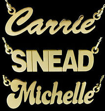 9CT GOLD PLATED ON STERLING SILVER LARGE CARRIE ANY NAME PLATE NECKLACE & CHAIN