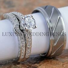 3PCS Women's Ring & Band Set & Tungsten Men's Wedding Band Infinity Jewelry