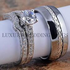 3PCS Women's Wedding Rings Silver Set & Silver Inlay Tungsten Men's Band Ring