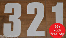 "Wheelie Bin Numbers, Sticky Numbers 7"" High, Self Adhesive White Sticker"