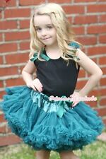 Teal Green Pettiskirt Skirt & Black Pettitop Top in Teal Green Bows Ruffle 1-8Y