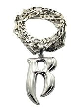 "NEW RUFF RYDER 'R' HIP HOP PENDANT & 5mm/24"" FIGARO CHAIN NECKLACE - MSP341"