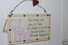 Assorted 2D Wooden Funny Wall Sign Plaques Vintage Chic MANY MEN LOO ROLL