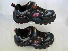 BOYS SKECHERS HOT-LIGHTS BLACK/NAVY/RED POLICE 90351L/BNR