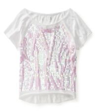 NWT AEROPOSTALE CROPPED PAILLETTE SEQUIN RAGLAN DORM TEE TOP