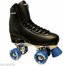 new Freesport MENS Black Wheels Quad Disco Roller boots Synthetic Leather rrp£69