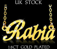 RABIA NAME NECKLACE Fashion Jewellery Personalised Designer Gifts Arabic/Muslim