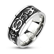 Stainless Steel Black Striped Hieroglyphics 8mm Comfort Fit Band Ring Size 9-14