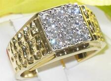 Z2W062PB  MANS SIMULATED DIAMOND 9STONE 3.5CT  MENS RING ALL SIZES SIGNET PINKY