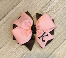 Pink and Brown Monogram Hair Bow