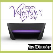 Happy Valentine's Day Holiday Vinyl Wall Decal Mural Quotes Words HD048