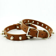 "Leather Spiked Studded Dog Collar Adjustable For Pet Dogs 8-18"" XS S M L Brown"