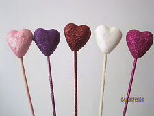 Floral Picks GLITTER HEARTS WHITE, PURPLE, LIGHT/HOT PINK, RED Love, Valentines!