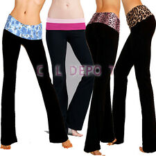 11 Style Foldover Waist Yoga Fitness Gym Dance Sport Long Flared Leg Pants S M L