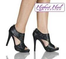 Sexy Black Leather Open Toe Silver Nail Head Studs Bootie High Heel Shoes 7 8 9