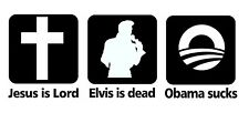 Jesus is Lord Elvis is Dead Obama Sucks t-shirt funny tee shirt Ringspun