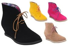 NEW Women's Lace Up Moccasin Wedge Ankle Booties w/ Floral Inner Lining 4 colors