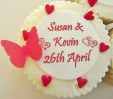 Ruby Wedding Anniversary Cupcake Toppers - Personalised - 40th - Icing / Wafer