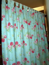 """TAB CURTAINS each 45"""" w made in CATH KIDSTON ANTIQUE ROSE BOUQUET BLUE cotton"""