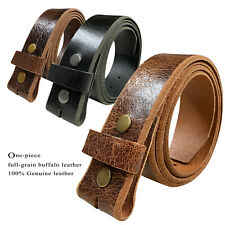 Belt Strap Snap on Cowhide One Piece Leather Unisex Belt New Black Brown Tan