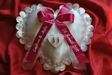 Personalised wedding ring cushion / pillow with ring holder HEART