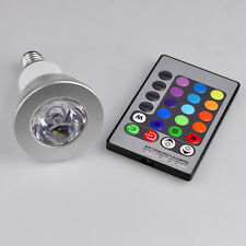 3W E27/GU10/E14 LED RGB Light Color Changing Bulb Lamp+ IR Remote Control  New