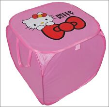 Square Foldable Pop-up Lid Pink Kitty Storage Bin Laundry Basket Toys Kids Bag