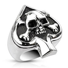 Steel Spade Ace Crossbone Death Skull Goth Ring Size 6,7,8,9,10,11,12,13 (f250)