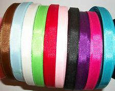 """25 yds (22.5m) Reel of 3/8"""" 10mm Grosgrain Ribbon Choice of Pretty Colours"""