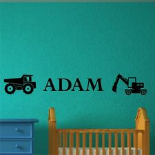 PERSONALISED CONSTRUCTION wall stickers for kids bedroom boys decals