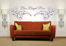 Live Laugh Love Quote, Wall Art Stickers Decal Murals, Bedroom, Study, Lounge