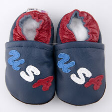 Baby Boy Infant Soft Sole Leather Shoes USA Blue B04 US 0-7  0-6-12-18-24M