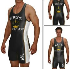 KING OF THE MAT, wrestling singlet with custom text included/black