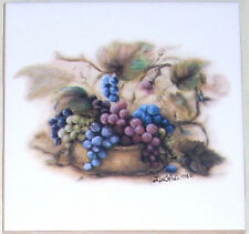 "Fruit Blessing Accent  Ceramic tile 4.25"" Kiln Fired Grapes Fruit Backsplash"