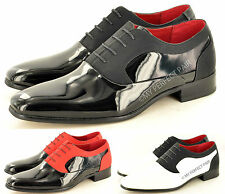 Mens Black Faux Suede & Patent Formal Lace Up Wedding Shoes In UK Sizes 6-11