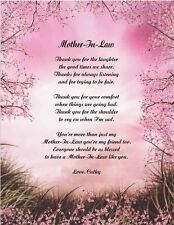 Mother In Law Personalized Poem Gift For Birthday, Christmas, Mother's Day