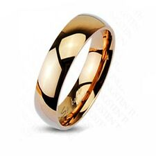 Rose Gold IP Tungsten Carbide 6mm Wide Polish Traditional Wedding Ring Band R216
