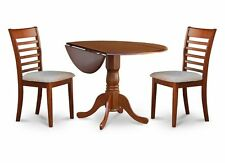 """3-PC DINETTE KITCHEN SET 42"""" ROUND TABLE & 2 CUSHIONED SEAT CHAIRS, SADDLE BROWN"""