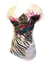 BNWT TAPOUT WOMENS DRIVEN TO LOVE WHT V-NECK TEE S M L XL MMA UFC