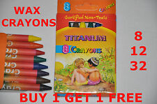 WAX CRAYONS Coloured For Kids Party - BUY 1 GET 1 FREE - UK STOCK - Non Toxic