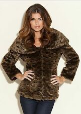 $198.00 Guess The Premier Faux-Fur Coat Jacket- Brown Sz S