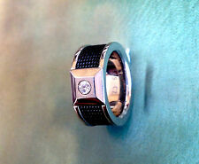 GENTS STAINLESS STEEL CARBON BLACK CZ RING