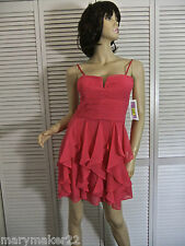 NWT-$109 HAILEY LOGAN JR DRESS 7/11/13 CORAL SHIRRED TIER GOWN PROM HOMECOMING