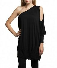 Frederick's Hollywood Black One Cold Open Shoulder Tunic SEXY 1X 2X 3X Draping