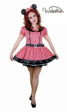 Womens Adult  Mouse Fancy Dress Red & White Costume 8-14 UK Size