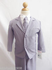 Gray Silver boy infant toddler teen formal suit for ring bearer wedding party