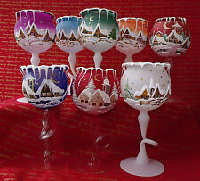 Mouth blown hand painted Christmas tealight candle holder Goblet gift  LuV Decor