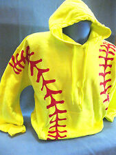 Neon Yellow Red Softball Graphic Hoodie Sweatshirt  Adult The Original