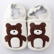 Baby Girl Infant Soft Sole Leather Shoes White Brown Bear G06 US 0-7 0-24M